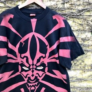 Vtg Star Wars Darth Maul Large Print Black/Red Tee